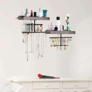 Hanging Wall Mounted Jewelry Organizer with Rusti